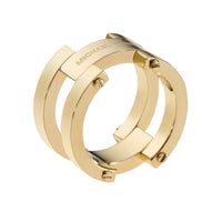 Michael Kors MKJ2215710M Gold Tone Stainless Steel Link Ring- Size 7