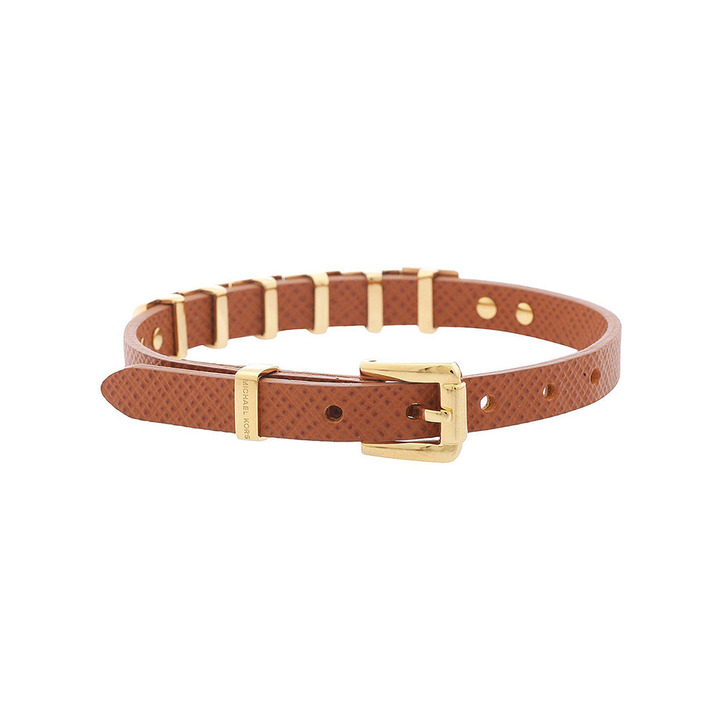 Michael Kors MKJ2964710 Ladies Gold Pyramid Brown Leather Bracelets