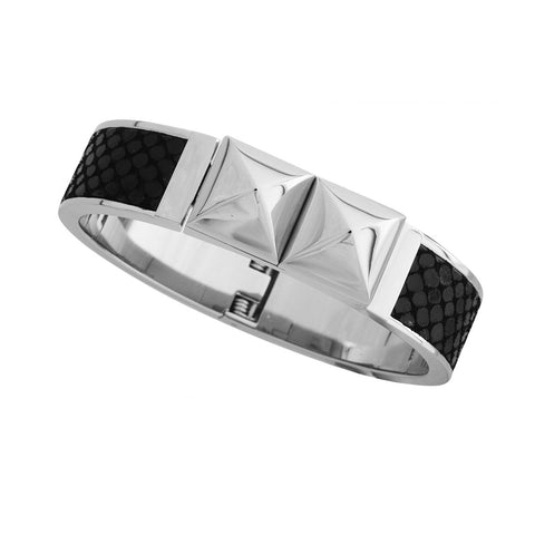 Michael Kors MKJ2974040 Glam Rock Silver Leather Hinged Bracelet