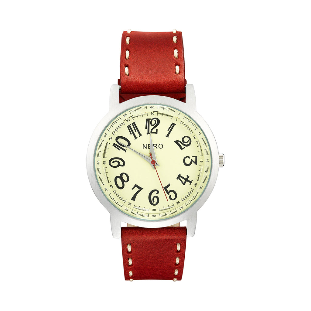 Nero Steel 105 Ladies Red Leather Strap Watch