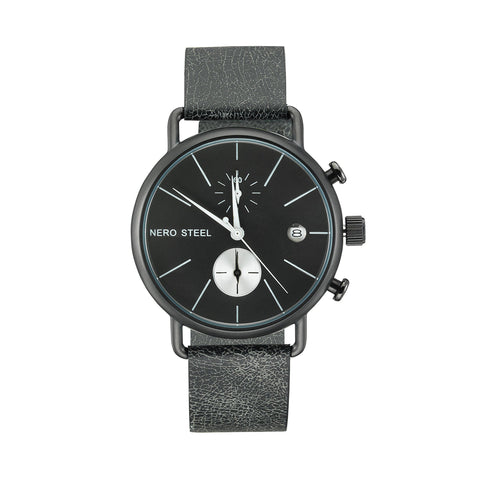 Nero Steel 111 Unisex Black Smoke Leather Strap Watch