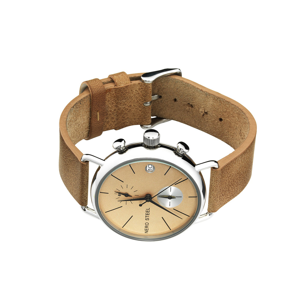 Nero Steel 111 Unisex Honey Leather Strap Watch