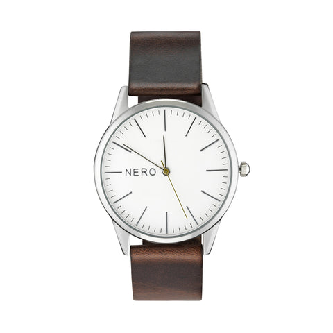 Nero Steel 113 Unisex Brown Leather Strap Watch