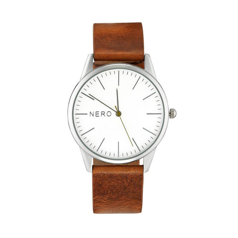 Nero Steel 113 Unisex Tan Leather Strap Watch