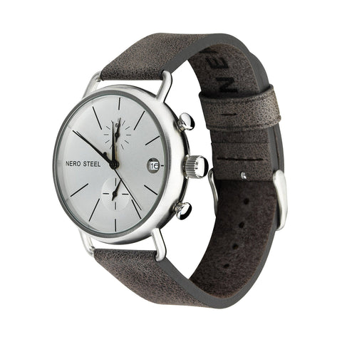 Nero Steel 115 Byron Unisex Grey Leather Strap Watch