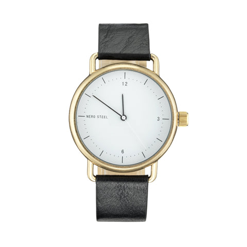 Nero Steel 116 Ladies Gala Black Leather Strap Watch