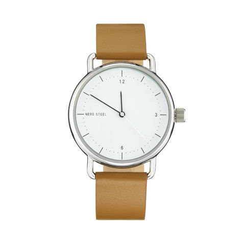 Nero Steel 116 Unisex Gala Natural Desert Leather Strap Watch