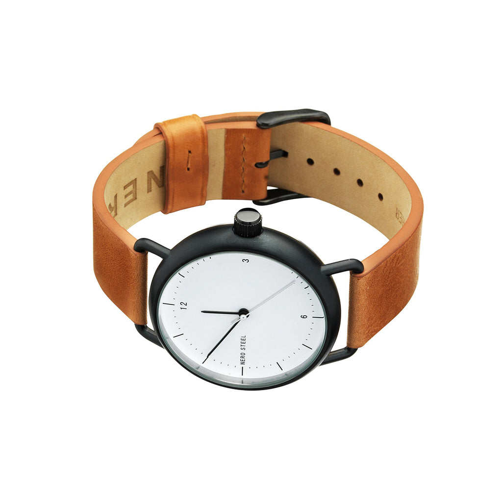 Nero Steel 116 Unisex Teracotta Leather Strap Watch