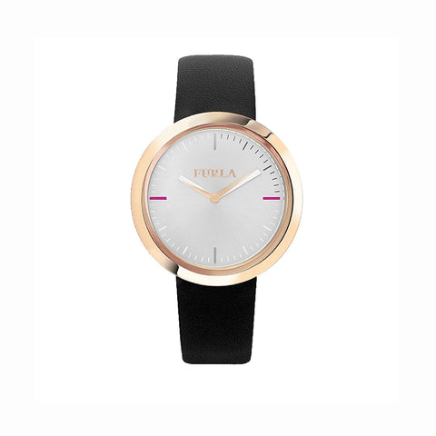 Furla R4251103503 Valentina Ladies Black Leather Watch