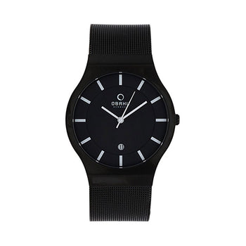 Obaku V123GBBMB Men's Black Mesh Strap Quartz Watch