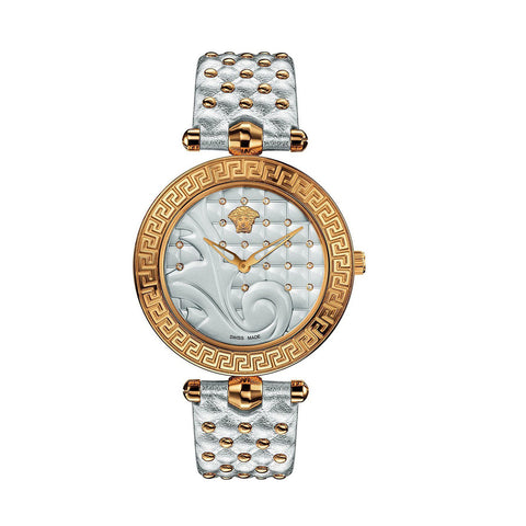 Versace VK7200014 Vanitas Ladies Silver Leather Strap Watch