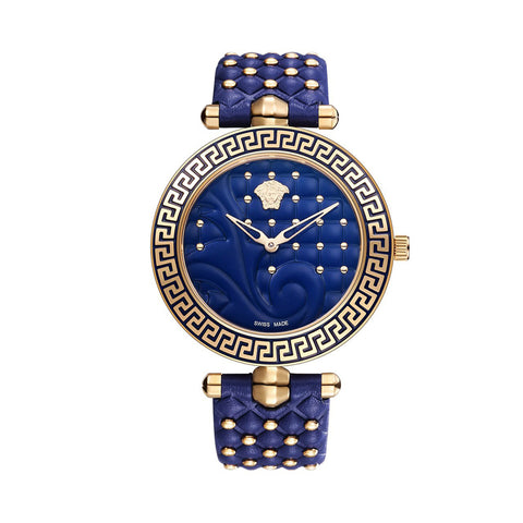 Versace Vanitas VK7740017 Ladies Blue Leather Watch