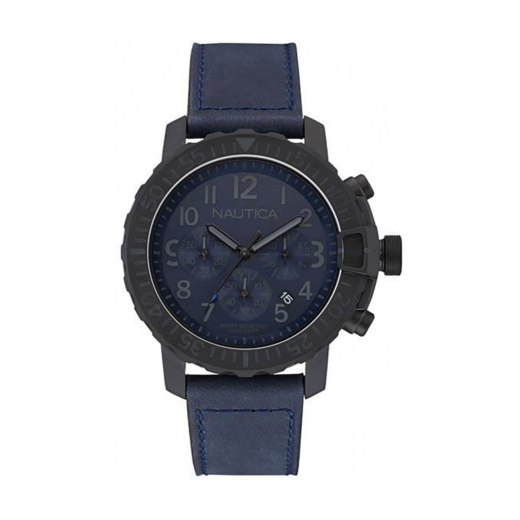 Nautica NAI21005G Men's Chronograph Blue Leather Watch