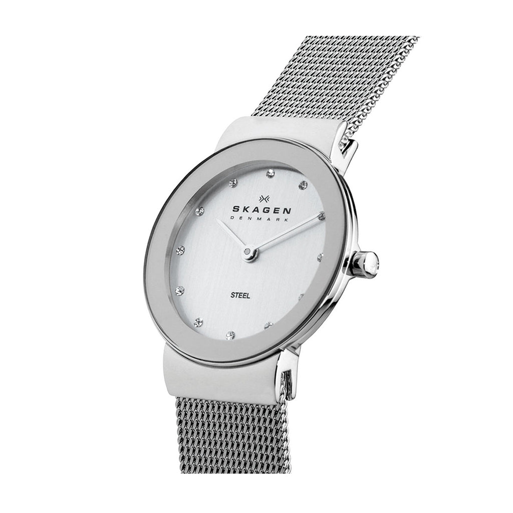 Skagen 358SSSD Ladies Silver Dial Mesh Strap Watch