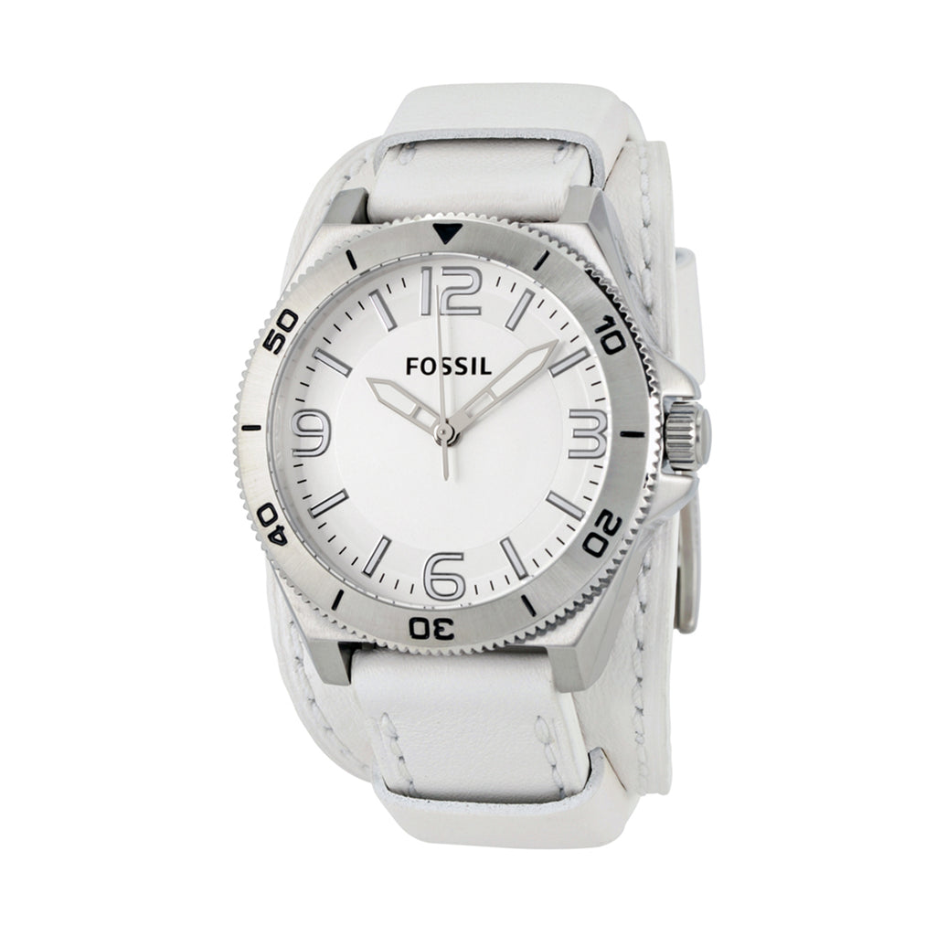 Fossil BQ1168 Men's Classic Silver Dial White Leather Strap Quartz Watch