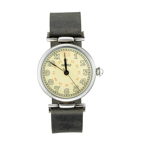 Nero 94 Gatsby Unisex Charcoal Black Leather Strap Watch