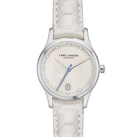 Lars Larsen 139SWWL Ladies White Leather Strap Watch