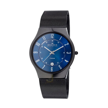 Skagen T233XLTMN  Mens Black Titanium Strap and Blue Dial Watch