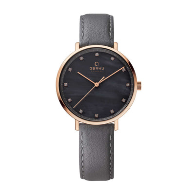 Obaku V186LXVJRJ Ladies Grey Leather Watch