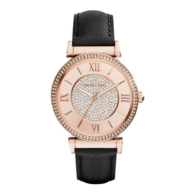 Michael kors MK2376 Catlin Rose Crystal-set Black Leather Ladies Watch