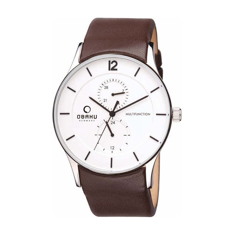 Obaku V157GMCIRN Men's Multi Function Leather Watch