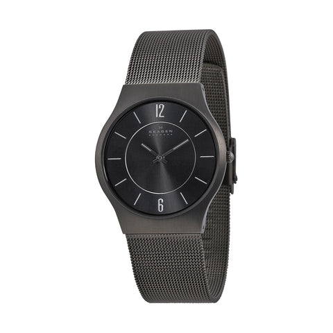 Skagen 233LTTM  Grenen Men's Black Dial Slim Titanium 34 mm Watch