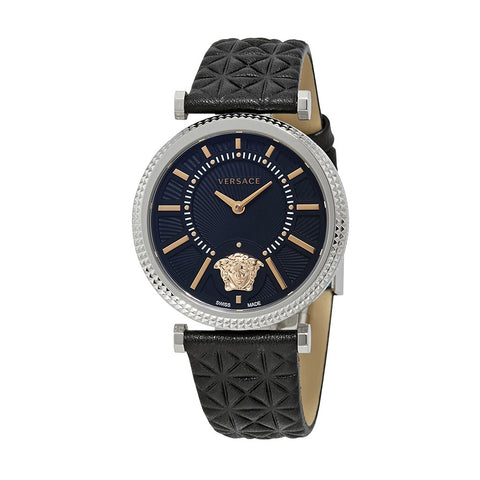 Versace V-Helix Ladies' Black Leather Watch - VQG020015