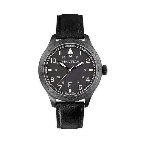 Nautica A11107G BFD 105 Men's Black Leather Watch
