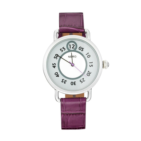 Nero 96 Nuovo Ladies' Plum Italian Leather Strap Quartz Watch