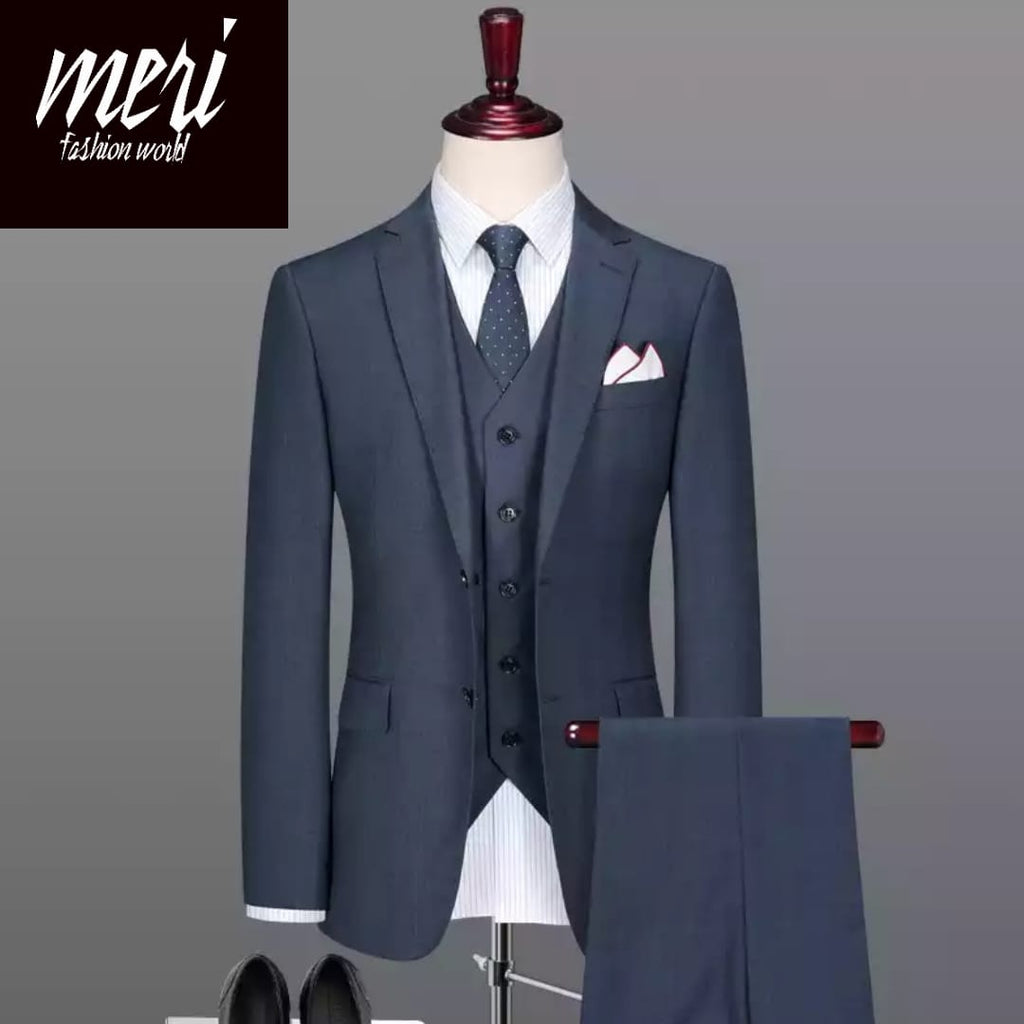 The Royal Blue Grey Summer Suit -  50% wool -  (Jacket+Pants+Vest)