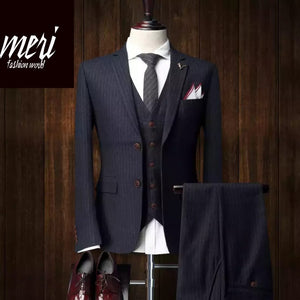 The Striped Master -  3 piece Suit - (Jacket +Vest +Pants)