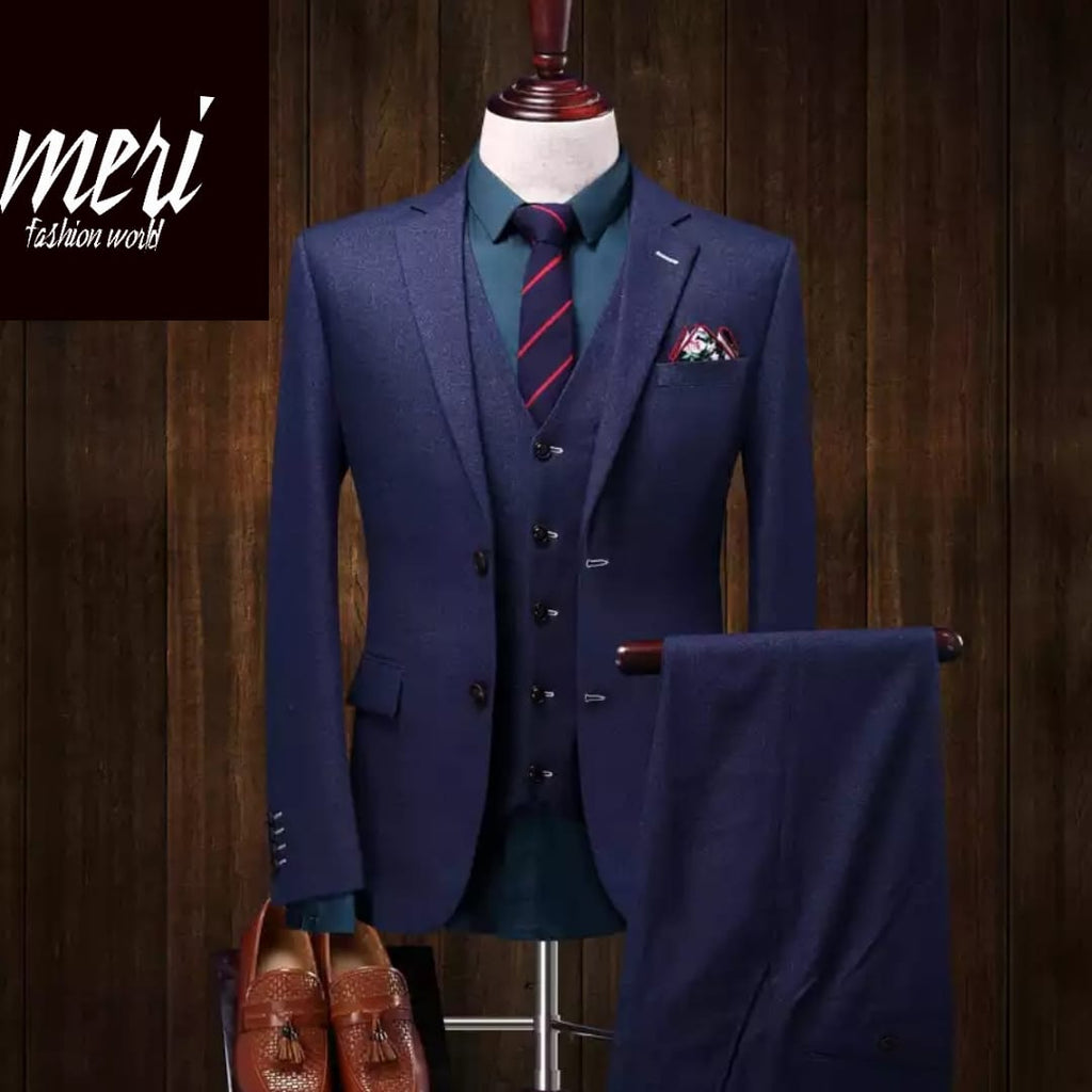 The Elegant Royal Blue Slim Fit 3 Pieces Suit  -(Jacket +Vest +Pants)