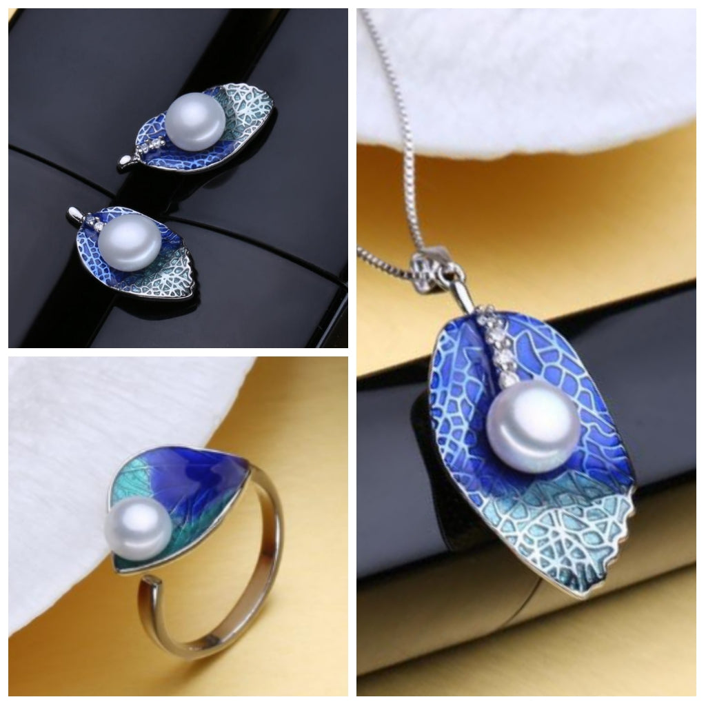 The Blue Life Set - Pearls and Silver