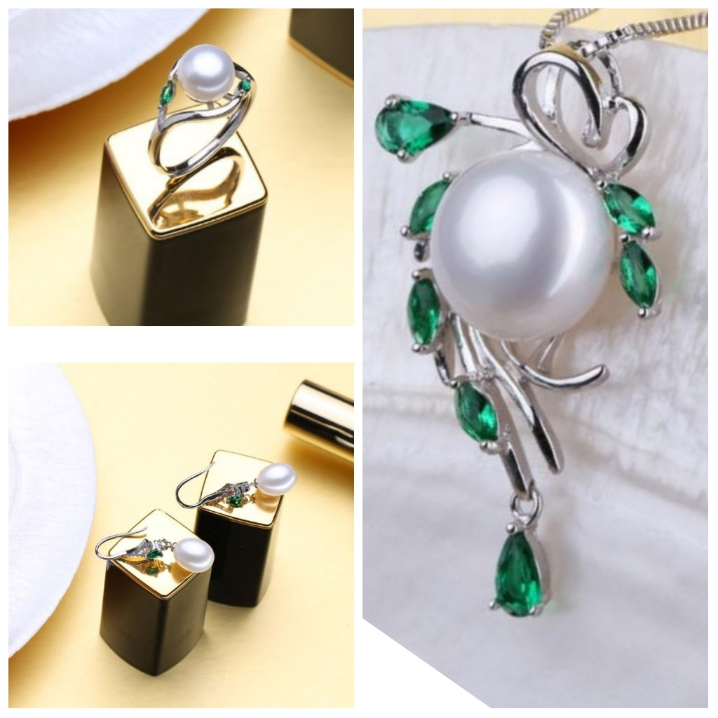 The Emerald Drop Set - Pearls and Silver