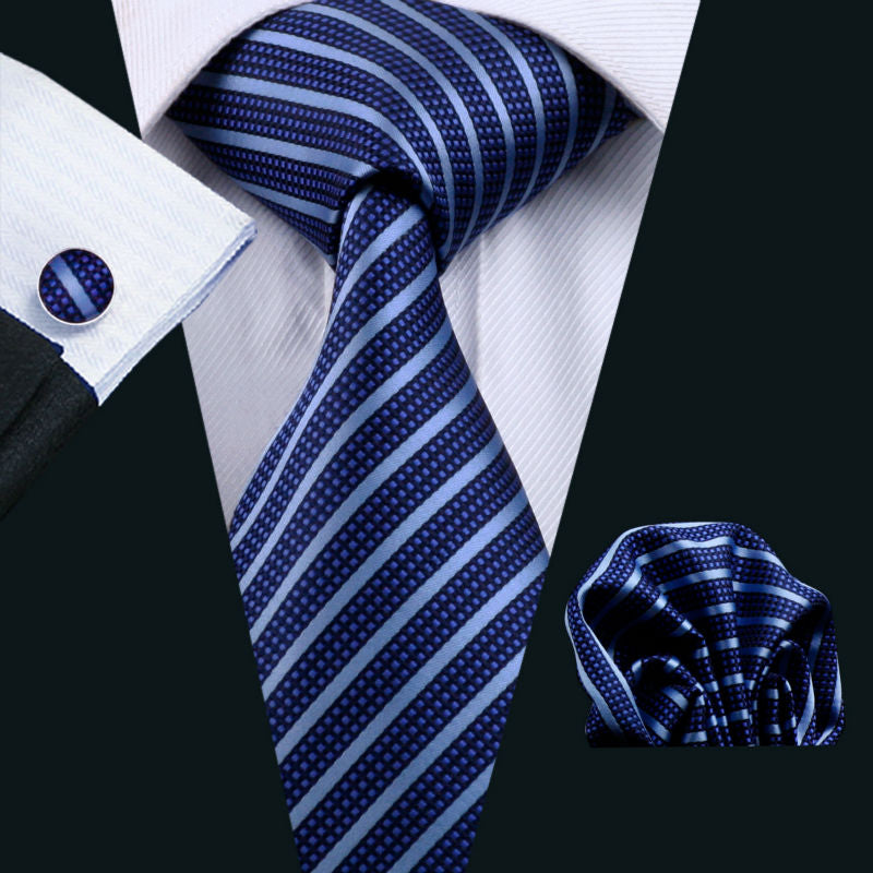 Blue Striped Silk Jacquard Tie and Hanky Cufflinks Set