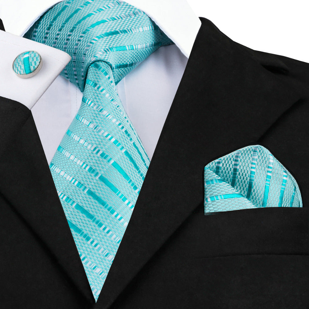 Blue Stripe Silk Jacquard Necktie and Hanky Cufflinks Set