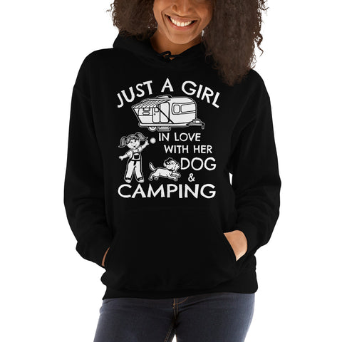 Just A Girl In Love With Her Dog And Camping Hooded Sweatshirt