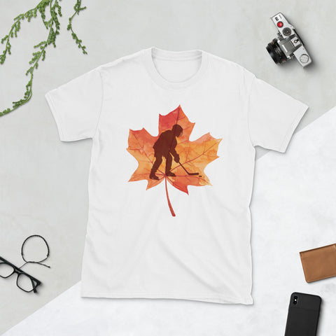 Hockey Maple Leaf Autumn Fall Unisex T-Shirt