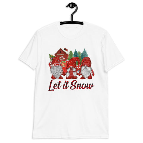 Plaid Gnomes Christmas Farm Let It Snow Unisex T-Shirt