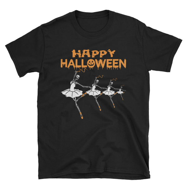 Dancing Girls Bones Happy Halloween Dancing Skeleton Unisex T-Shirt