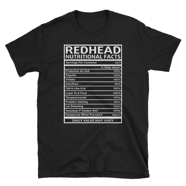 Redhead Nutritional Facts Unisex T-Shirt
