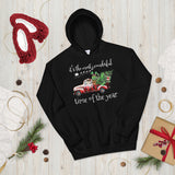 Christmas Santa Reindeer Truck Pine It's The Most Wonderful Time Of The Year Hooded Sweatshirt