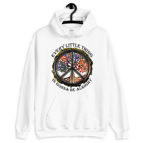 Tree Peace Symbol Every Little Thing Is Gonna Be Alright Hooded Sweatshirt