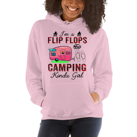 I'm A Flip Flops And Camping Kinda Girl Hooded Sweatshirt