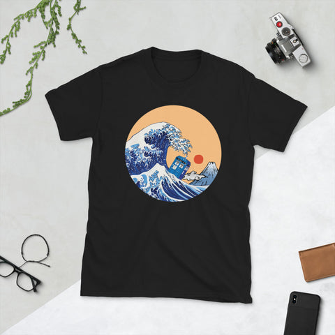 Tsunami Police Box In Japanese Wave Style Unisex T-Shirt