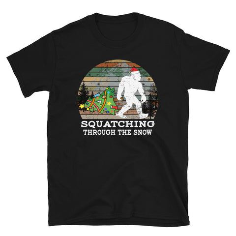 Vintage Christmas Squatching Through The Snow Unisex T-Shirt