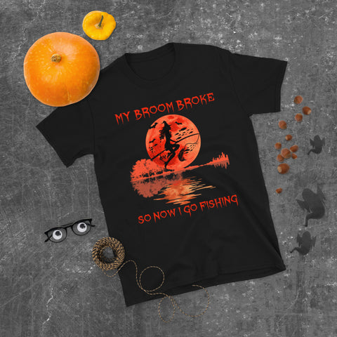 Guitar Halloween City Witch Fishing Rod My Broom Broke So Now I Go Fishing Unisex T-Shirt