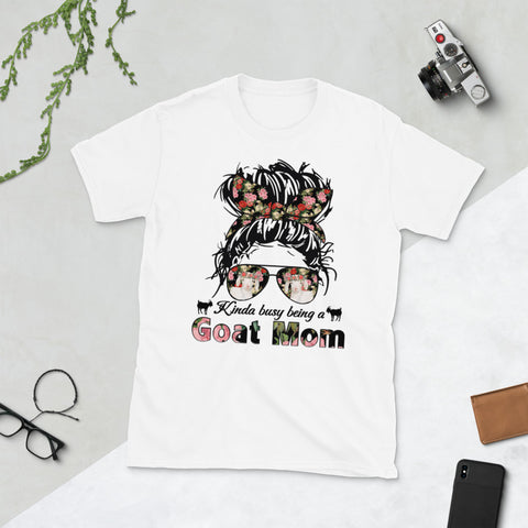Woman Messy Bandana Bun Hair Kinda Busy Being A Goat Mom Unisex T-Shirt