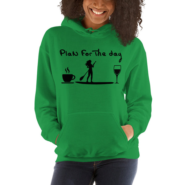 Paddleboard Coffee Wine Plan For The Day Hooded Sweatshirt