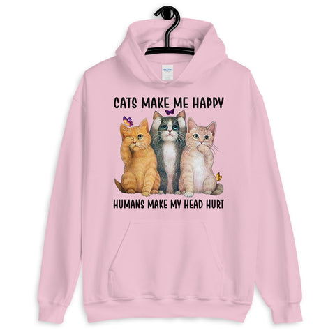 Butterfly Cat Cats Make Me Happy Humans Make My Head Hurt Hooded Sweatshirt